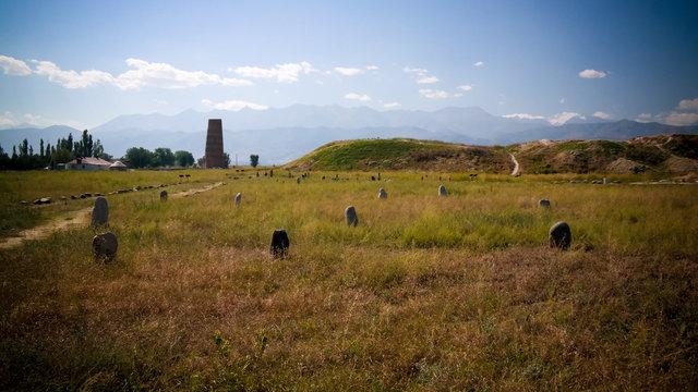 Kurgan stelae aka Balbals and Burana tower, Tokmok,Chuy Valley Kyrgyzstan