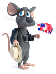 3D rendering of a cartoon mouse tourist backpacking.