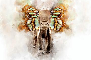 Elephant - watercolor illustration portrait