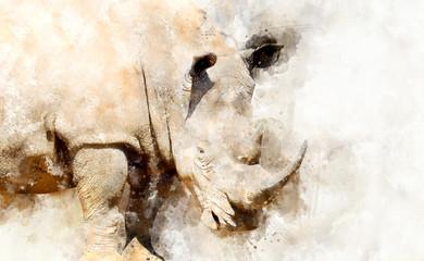 Rhino - watercolor illustration portrait