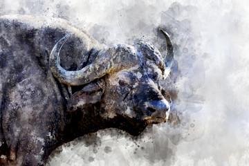 Buffalo - watercolor illustration portrait