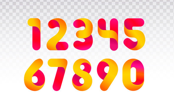 Set of numbers from 0 till 9. Template for web design or greeting card. Vector collection for Social Networks, web user and bloggers celebrating posts and subscribes.