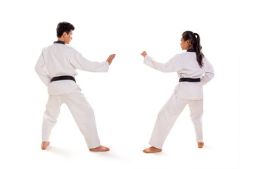 Back shot of two martial artists ready to  fight, isolated background