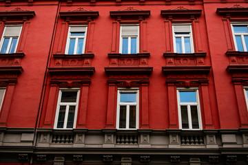 Facade of the red house in Graz, Austria