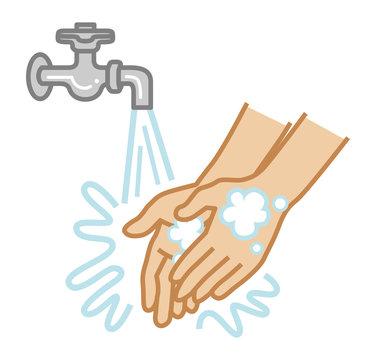 Hand washing concept art - Simple Cartoon style