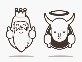Good and bad, God and devil cartoon graphic vector