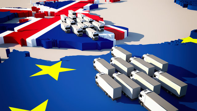 Europe map with waiting trucks - Brexit / border control/ customs check / 3d-illustration