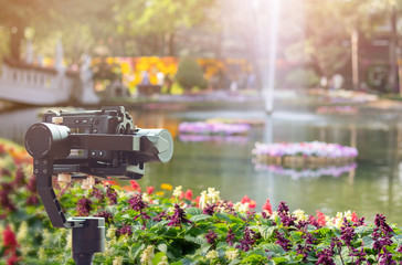 Closeup video recording fountain in the middle of the pond in the park with nature background