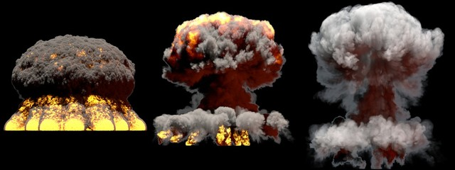 3D illustration of explosion - 3 large different phases fire mushroom cloud explosion of super bomb with smoke and flame isolated on black background