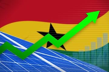Ghana solar energy power rising chart, arrow up - alternative natural energy industrial illustration. 3D Illustration