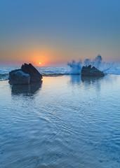 Sunrise Seascape, Splash and Rocks