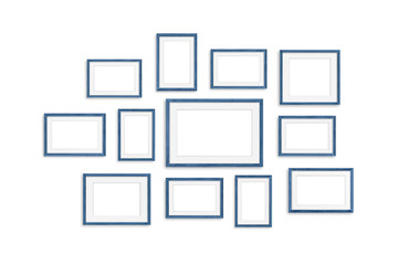 Frames collage, twelve blue realistic wooden frameworks isolated on white background