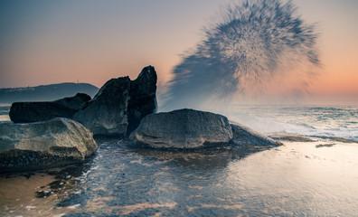 Sunrise Seascape and Rock Ledge