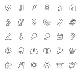Set of health care and medical outline icons