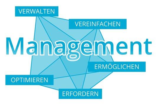 Management - Begriffe verbinden, Farbe blau