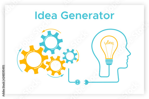 Head Silhouette Lightbulb Creative Idea Concept Vector