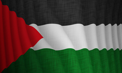 Graphic illustration of a flying Palestinian flag