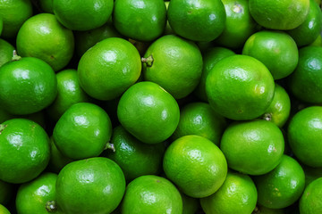 Beautiful Green Fresh and Ripe Lime in the Market