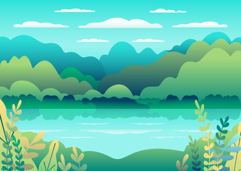 Printed roller blinds Light blue Hills landscape in flat style design. Valley with lake background. Beautiful green fields, meadow, mountains and blue sky. Rural location in the hill, forest, trees, cartoon vector