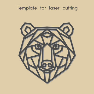 Template animal for laser cutting. Abstract geometric bear for cut. Stencil for decorative panel of wood, metal, paper. Vector illustration.