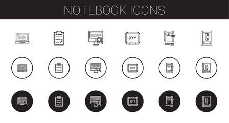 notebook icons set
