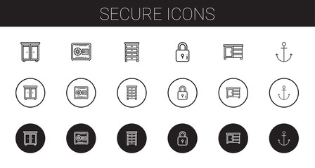 secure icons set