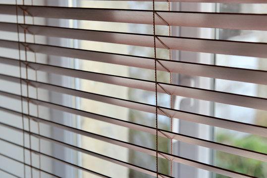 close on a venetian wooden blinds