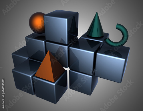 3d Abstract Background Figures 3d Illustration Stockfotos
