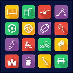 Playground or Park Icons Flat Design