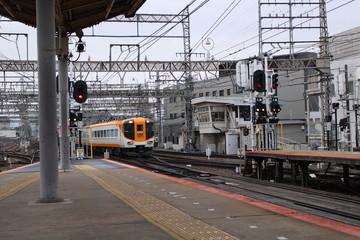 A train running in Japan. Kintetsu train