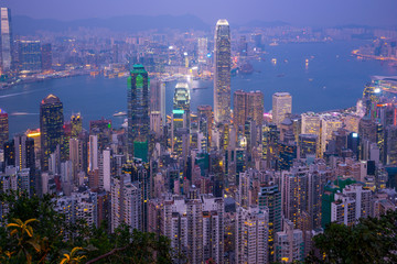 Hong Kong city skyline day to night