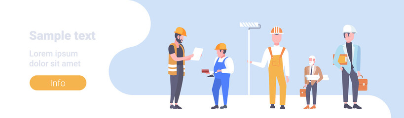 construction workers team industrial technicians men builders group male cartoon characters full length horizontal copy space