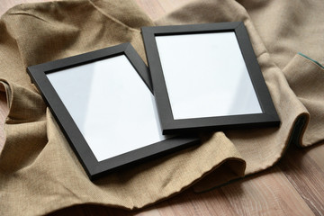 Two black empty picture frames. Mockup concept.