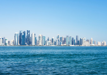 Skyline of West Bay and Doha City Center on sunny day