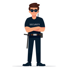 vector illustration of standing man as a security
