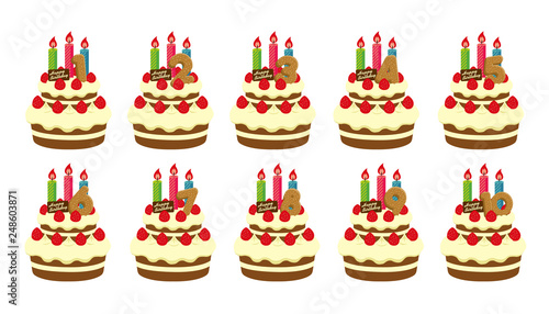 Birthday Cake Illustration For 3 Years Old Stockfotos Und Lizenzfreie Vektoren Auf Fotolia