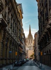 Catedral en el barrio gótico de Barcelona
