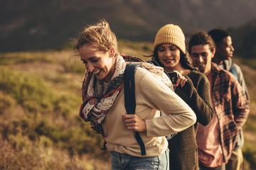 Hiking trip content for social media Fotobehang
