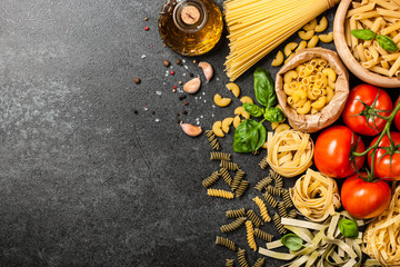 Assortment of pasta, tomatoes and olive oil