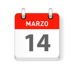 Marzo 14, March 14 Calendar Date Design