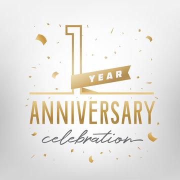 First anniversary celebration golden template. Vector illustration.