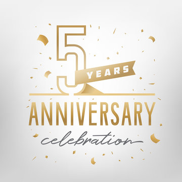 5th anniversary celebration golden template. Vector illustration.