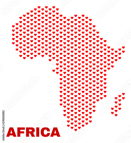 Shape Of Africa Map.Mosaic Africa Map Of Love Hearts In Red Color Isolated On A White