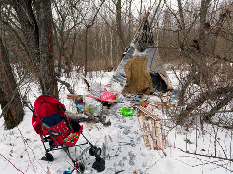 GOMEL, BELARUS. The home of the homeless in the winter in the bush suburbs.