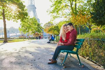 Romantic couple in love near the Eiffel tower