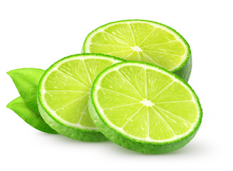 Isolated lime slices. Sliced lime fruit with leaves isolated of white background with clipping path
