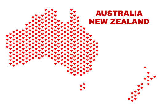 Mosaic Australia and New Zealand map of love hearts in red color isolated on a white background. Regular red heart pattern in shape of Australia and New Zealand map.
