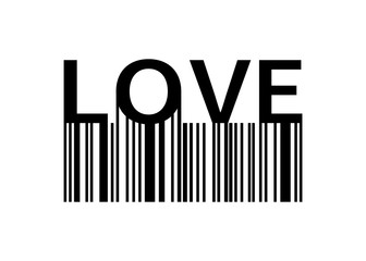 Love slogan with barcode. Print Love for your design. Banner or poster Love with barcode