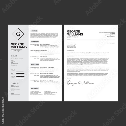 Professional CV resume template design and letterhead / cover letter ...