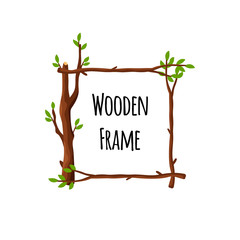 Square wooden frame of branches with green leaves isolated on white background, timbered border with place for text - flat vector illustration